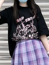 Lolita Blouse For Women Black Polyester Jewel Short Sleeves Black Lolita T-Shirt