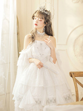 Sweet Lolita JSK Dress Polyester Sleeveless Pearls Chains Lace Up White Tea Party Style Lolita Jumper Skirt
