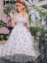 Sweet Lolita Dress Polyester Lace Up Ruffles Bows Sleeveless Light Apricot Tea Party Style Lolita Jumper Skirt