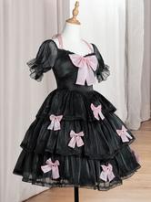 Sweet Lolita Dress Polyester Short Sleeves Lace Bows Ruffles Black Lolita One Piece Dress