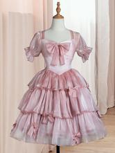 Sweet Lolita OP Dress Polyester Short Sleeves Ruffles Bows Pink Lolita One Piece Dress