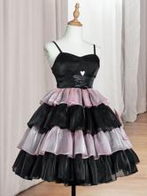 Sweet Lolita JSK Dress Polyester Sleeveless Black Pink Ruffles Bows Tiered Lolita Jumper Skirt