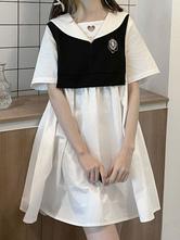 Sweet Lolita OP Dress Polyester Short Sleeves White Lolita One Piece Dress