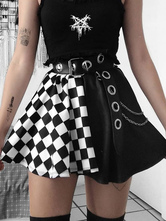 Gothic Skirt For Women Black ChainsGrommets Hip Hop Polyester Plaid Pattern Mini Skirt