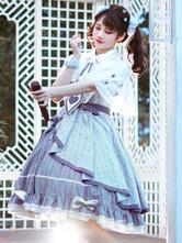 Idolclothes Lolita JSK Dress Baby Blue Print Pattern Bows Grommets Metal Details Lace Up Lolita Jumper Skirts