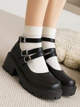 Academic Lolita Footwear Black Round Toe PU Leather Lolita Pumps