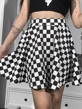 Women Gothic Mini Skirt Black Zipper Plaid Pattern Polyester Skirt
