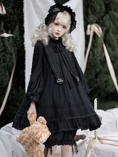 Gothic Lolita OP Dress Black Long Sleeves Lace Ruffles Polyester Lace Lolita One Piece Dress