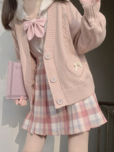 Lolita Sweater Cardigan Pink Bows Polyester Long Sleeves Spring Lolita Outwears