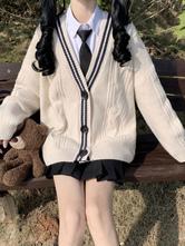 Ecru White Lolita Cardigan Color Block Polyester Spring Lolita Outwears