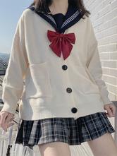 Ecru White Lolita Cardigan Polyester Long Sleeves Spring Lolita Sweater Outwears