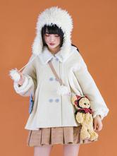 Ecru White Lolita Coats Bows Polyester Two-ToneBow Lolita Outwears