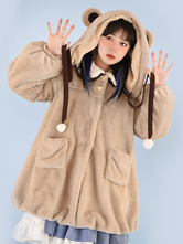 Coffee Brown Lolita Coat Pom Poms Color Block Overcoat Polyester Fall Sweet Lolita Outwears