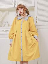 Lolita Coats Yellow Bows Long Sleeve Polyester Overcoat Fall Lolita Outwears