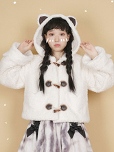 White Lolita Coats Polyester Overcoat Color Block Short Winter Sweet Lolita Outwears