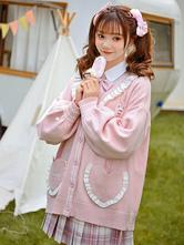 Lolita Coats Ruffles Long Sleeve Polyester Pink Winter Lolita Outwears