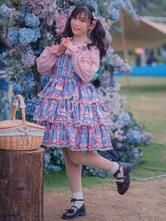 Sweet Lolita JSK Dress Cotton Sleeveless Ruffles Strawberry Print Pattern Lolita Jumper Skirt