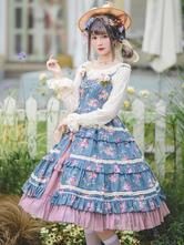 Sweet Lolita JSK Dress Cotton Sleeveless Ruffles Floral Print Pattern Blue Lolita Jumper Skirt