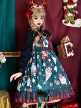 Sweet Lolita JSK Dress Polyester Sleeveless Ruffles Deep Green Lolita Jumper Skirt