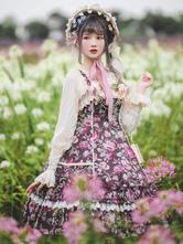 Sweet Lolita JSK Dress 2-Piece Set Cotton Sleeveless Ruffles Jumper Skirt Hat Lolita Outfit