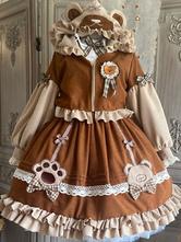 Lolita Coats Coffee Brown BowsRuffles Bow Overcoat Polyester Winter Lolita Outwears