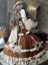 Sweet Lolita JSK Dress Polyester Sleeveless Coffee Brown Sweet Lolita Jumper Skirt
