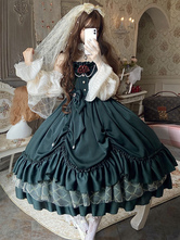 Classical Lolita JSK Dress Ink Green Ruffles Bows Sleeveless Polyester Lolita Jumper Skirt