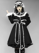 Gothic Lolita Coats Ruffles Polyester Color Block Black Winter Lolita Outwears