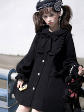 Sweet Lolita Coats Black RufflesBows Long Sleeve Polyester Winter Lolita Outwears