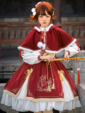 Conjunto de 2 peças estilo chinês Lolita com renda vermelha Pom Poms Arcos mangas compridas capa vestido outfit