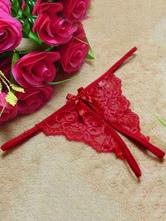Rote Spitze Unterwäsche 2021 für Damen Thong Crotchless Höschen Sexy Unterwäsche