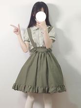 Traje clásico de Lolita Falda de puente con volantes y lazo verde con blusa de gasa de manga corta