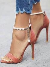 Salmon Ankle Strap Heels Stiletto Heel Sandals for Women