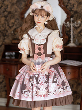 Sweet Lolita OP Dress Short Sleeve Pearls Bows Pink Brown Daily Casual Lolita One Piece Dress