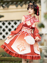 Chinese Style Lolita JSK Dress 5-Piece Set Tea Party Polyester Fiber Lolita Jumper Skirt Full Set