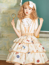 Sweet Lolita OP Dress Deep Apricot Short Sleeve Buttons Tiered Academic Lolilat One Piece Dress