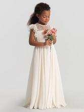 Robes cortège enfant en dentelles dos transparent plissée Robe fille de fleur