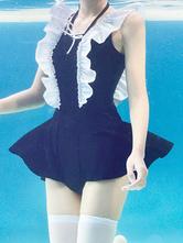 Sweet Lolita Swimsuit Outfits Black Lace UpRuffles Sleeveless Lolita Swimming Suit