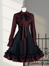 Gothic Lolita OP Dress Black Red Ruffles Lolita One Piece Dresses