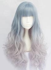 3ab560ef5bc76 Harajuku Lolita Long Wigs Curly Tousled Layered Light Blue Lolita Wigs With  Bangs