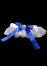 White Royal Blue Bow Rhinestone Terylene Satin Gauze Wedding Garter