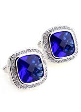 Fabulous Blue Zircon Electro-Plated Platinum Brass Cuff Links