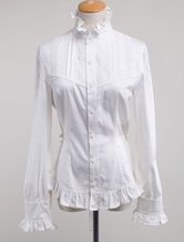 Lolitashow White Cotton Lolita Blouse Long Sleeves High Collar Ruffles