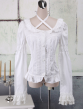 Lolitashow White Cotton Lolita Blouse Long Sleeves Lace Trim Neck Straps Round Collar