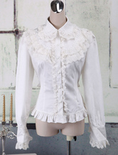 Lolitashow White Cotton Lolita Blouse Long Sleeves Lace Trim Turn-down Collar Ruffles