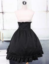 Algodão preto gótico Lolita saia de babados