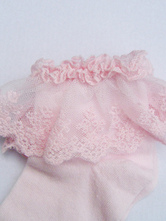 Pure Pink Cotton Blend Lace Trim Lolita Socks