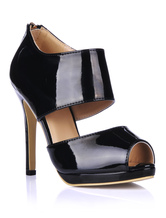 High Heel Sandals 2019 Black Peep Toe Zip Up Sandal Shoes For Women