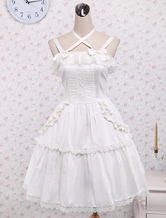Lolitashow Pure White Cotton Lolita Jumper Skirt Lace Trim Lace Up Ruffles