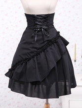 Gothic Lolita Dress SK Black Ruffles High Waist Lace Up Lolita Skirt